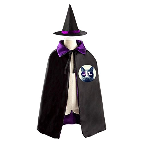 Cat Musical.ly Logos Kids Halloween Party Costume Cloak Wizard Witch Cape With Hat