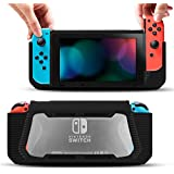 Pakesi Case for Nintendo Switch, [Heavy Duty] Slim Rubberized [Snap on] Hard Case Cover for Nintendo Switch with a Tempered Glass Screen Protector (Black)