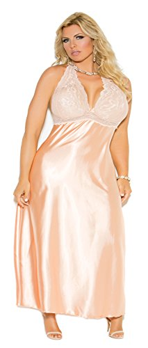 Zabeanco Women's Plus Size Lace Halter Neck Charmeuse Gown - Lingerie Sexy Charmeuse Long Gown
