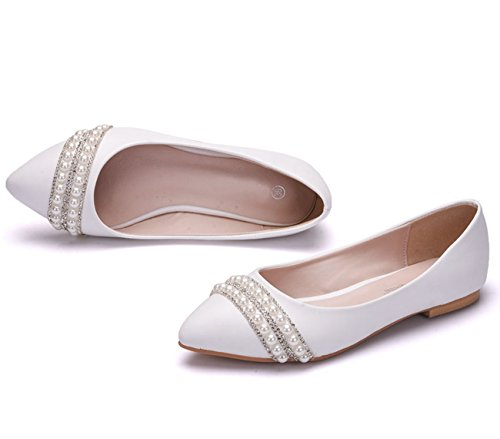 Minishion Dames Poited Teen Kralen Satijnen Trouwjurk Ballet Flats Wit-plat