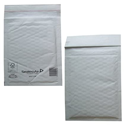 50 Small C/0 Size Mail Lite White Padded Envelopes Mailers - Peel + Seal Bubble Bags - 150 x 210mm / 6 x 8.25' Sealed Air Postal Packing Mailing Shipping Postage Posting Self Seal Cushioned Protective Packaging