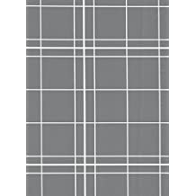 White Lines Flannelback Vinyl Tablecloth in Gray, 52x90 Oblong (Rectangle)