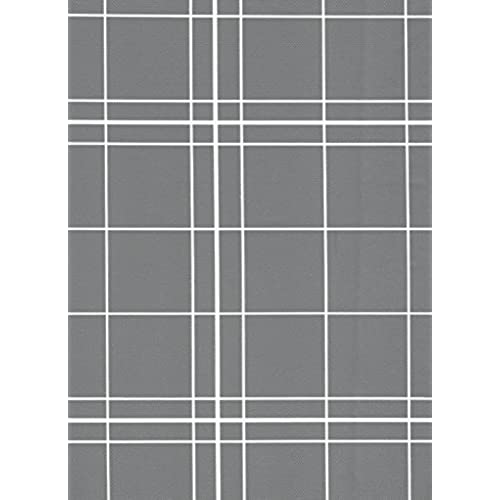 White Lines Flannelback Vinyl Tablecloth In Gray, 60x84 Oval