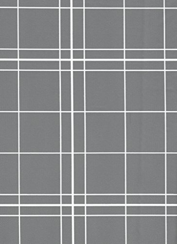 White Lines Flannelback Vinyl Tablecloth in Gray, 52x90 Oblong (Rectangle) (90 Inch Round Vinyl Flannel Backed Tablecloth)