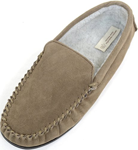 Mens Berber Fleece Lined Moccasin Slipper with Non-Slip Rubber Sole Taupe