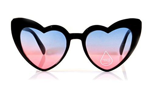FBL Iconic Celebrity Heart Cat-Eye Ocean Color Lens Sunglasses A094 (Black/ Blue - Sunglasses Ocean
