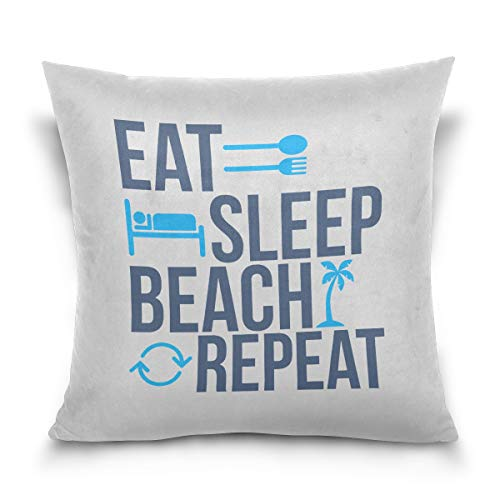 Aibileen Eat Sleep Beach Repeat Funny Text Art Decorative Cotton Short Plush Throw Pillow Case for Seaside Beach -