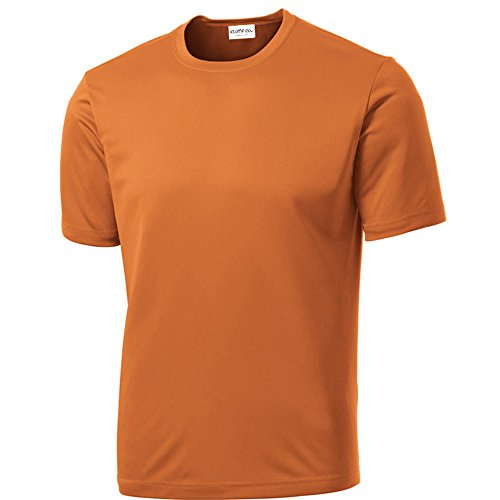 Clothe Co. Mens Short Sleeve Moisture Wicking Athletic T-Shirt, Texas Orange, XL