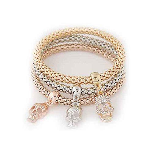 Joyhul 3PCS Set Crystal Bracelets & Bangles New Gold Wrap Charm Bracelets Femme for Women Men Fashion Jewelry ()