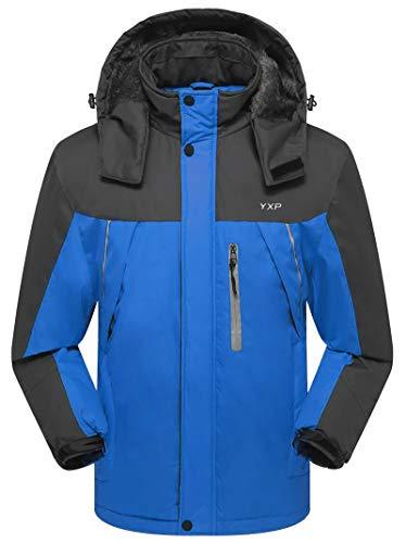 GEMYSE Men's Waterproof Mountain Jacket Fleece Windproof Ski Jacket(Blue,US M)