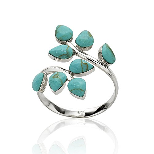 925 Sterling Silver Blue Reconstructed Turquoise Gemstone Leaf Adjustable Ring, Sizes 6-9