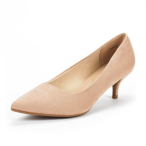 Heel Suede Pumps (DREAM PAIRS Women's Moda Nude Suede Low Heel D'Orsay Pointed Toe Pump Shoes Size 7.5 M US)