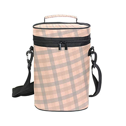 Anna Cowper Striped Gingham Gray Quad Orange Insulated Wine Carrier Tote - 2 Bottle Travel Padded Wine Carrying Cooler Bag with Handle and Adjustable Shoulder Strap (Bottle Tote Wine Quad)