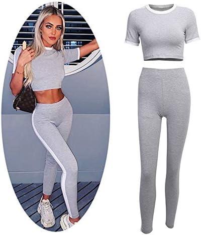 スポーツスーツ、セクシーなスリム、女性、ショートスリム半袖Tシャツ+カジュアルパンツ女性の体操服,M
