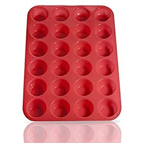 Laminas 24 taza silicona Mini Muffin Cupcake molde para hornear, antiadherente, fácil de limpiar