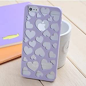 ZLXUSA (TM) Hollow Out Loving Heart Pattern Design PC Hard Case for iphone 4s Purple