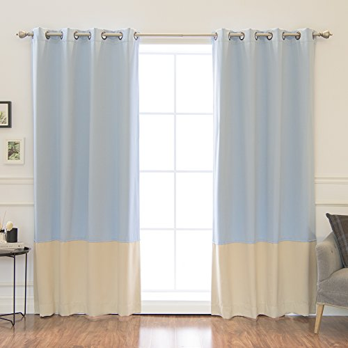 """Best Home Fashion Colorblock Thermal Insulated Blackout Curtains - Antique Bronze Grommet Top - Sky Blue/Beige - 52"""" W x 84"""" L - (Set of 2 Panels)"""