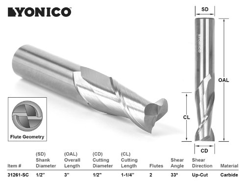 Yonico 31261-SC CNC Router Bit Up Cut Solid Carbide with 1/2-Inch X 1-1/4-Inch X 1/2-Inch X 3-Inch 1/2-Inch Shank