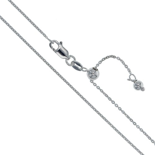 (Rhodium Plated Sterling Silver Adjustable Thin Cable Chain 0.9mm Solid 925 Rolo Link New Necklace 22