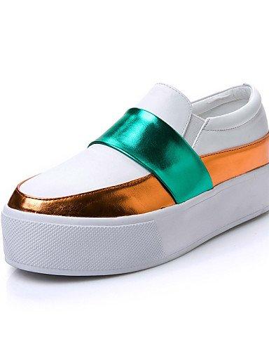 ZQ Zapatos de mujer - Tacón Plano - Plataforma - Mocasines - Exterior / Vestido / Casual - Semicuero - Negro / Blanco , white-us6.5-7 / eu37 / uk4.5-5 / cn37 , white-us6.5-7 / eu37 / uk4.5-5 / cn37 white-us5 / eu35 / uk3 / cn34