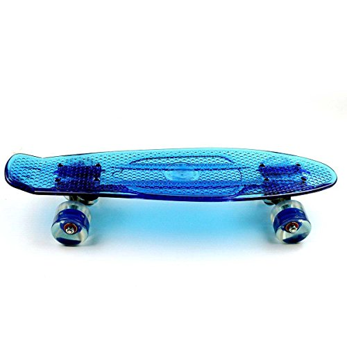 RoseBlue byRisa Eprocool Plastic Skateboard Transparent Blue Board PU Wheels Cruiser Flying Fish Skateboard (Skateboard Tape Lightning Grip)