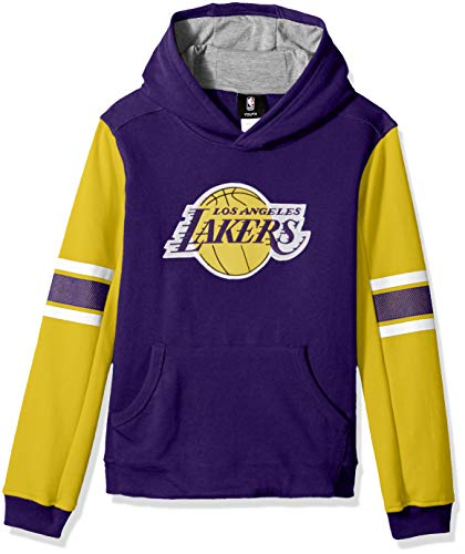 Outerstuff NBA NBA Youth Boys Los Angeles Lakers Man in Motion Color Blocked Pullover Hoodie, Regal Purple, Youth Large(14-16)