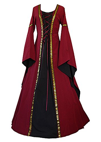 Cosplaydiy Women's Medieval Hooded Fancy Dress Victorian Costume Halloween Vintage Dress by (Prom Queen Fancy Dress)