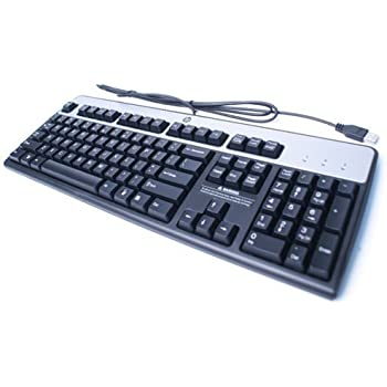genuine hp hewlett packard ku 0316 black silver usb wired 104 key layout keyboard. Black Bedroom Furniture Sets. Home Design Ideas