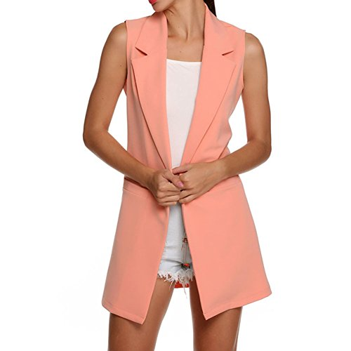 Casual Chaleco Rosado Top Outwear hibote sin Chaleco Mujeres largo Chaqueta Volver mangas RPqztfwP