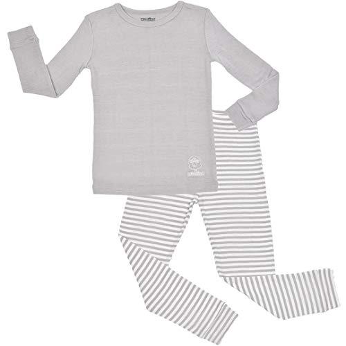 Woolino Long Sleeve Pajama Set - Merino Wool, 2-3 Years, Gray