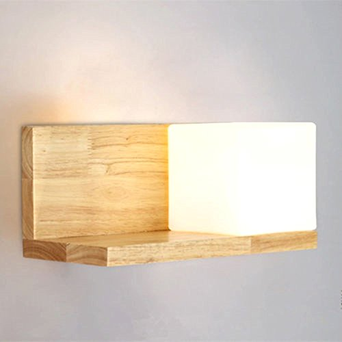 [Vintage Style Natural Wooden Frame Wall Mount Light Lamp Square Shape 4 Styles Home Bedroom Bar Cafe Restaurant Decoration (No.] (Superhero Outfits Ideas)