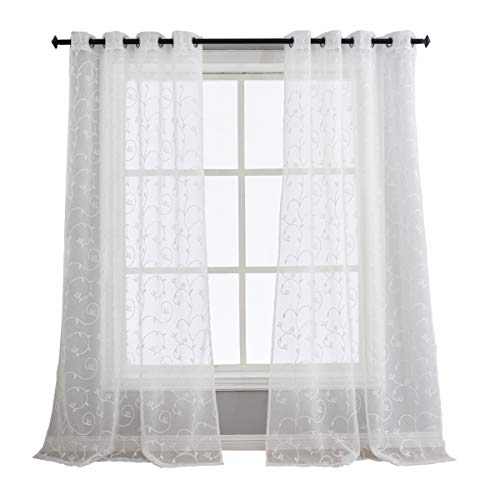 Cheap Floral Embroidered Semi Sheer Curtains for Living Room, Grommet 63 inch Length White Short Window Panels for Kitchen Curtain, Set of 2 Panels