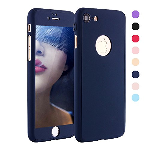 iPhone 6 Plus Case - GreenElec [Ultra-thin] 360 All Round Protective - Hard Hybrid Plastic Slim Cover Case with [Tempered Glass Screen Protector] for iPhone 6 Plus / iPhone 6S Plus (Navy)