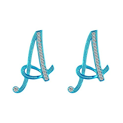 CHUYUN Blue Color Crystal Rhinestone Fashion Alphabet Letter Initial Earrings A-Z for Women (A)