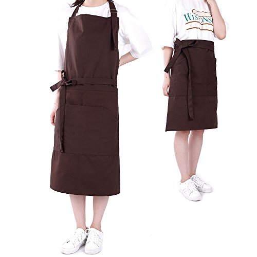 Antecrea 2-Piece Dual Use Poly/Cotton Bib or Waist Apron Set with 3 Pockets for Women and Men, 33 x 27-Inch, Dark Brown (Cool Haircuts For Teen Boys)