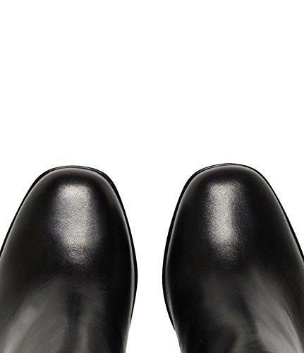 Poi Lei PoiLei Carla - Damen High Heel Stiefelette Chelsea Boots Aus Glatt-Leder mit Blockabsatz und Applikationen - Schwarz