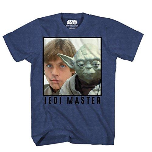Star Wars Men's Luke Skywalker, Yoda Jedi Master T-Shirt, Navy Heather, (Yoda Jedi Master)