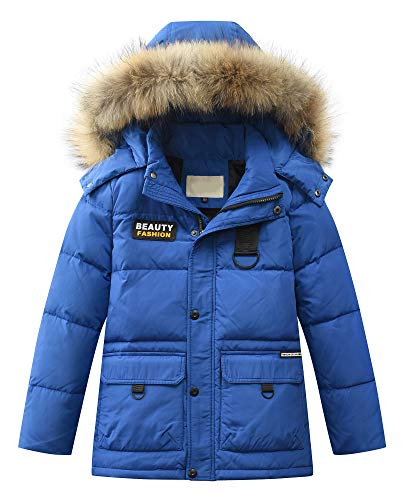 Mallimoda Big Boy's Hooded Bubble Jacket Heavyweight Solid Puffer Coat Style 2 Deep Blue 7-8 Years