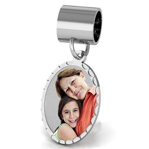 Charm Oval Bracelet 14k (Petite Oval with Diamond Cut Edge Charm For Bracelet - 1/2 inch x 3/4 inch Solid 14K Yellow Gold)