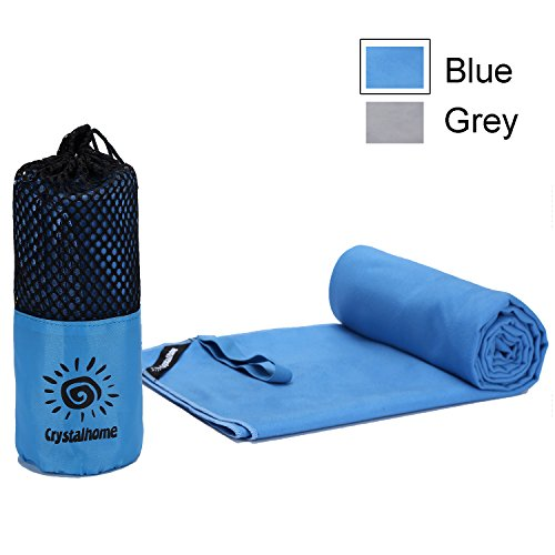 Crystalhome Fast Dry Towel Absorbent Ultra, Compact Microfiber Sports Travel Bath Towels Quick Dry, Fast Drying Towel Xl 32x50 Inches & Super Large Lightweight for Camping, Yoga, Beach, Spa with Blue. (Heights Bath Light)
