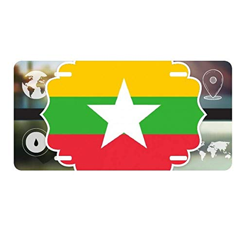 DIYthinker Myanmar National Flag Asia Country License Plate Car Decoration World Map