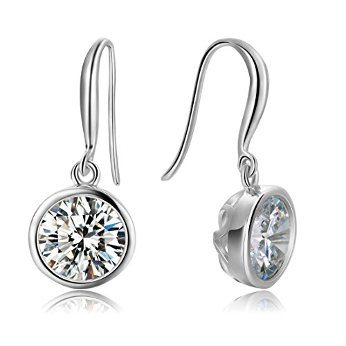Carleen 925 Sterling Silver Round CZ Cubic Zirconia Drop Dangle Earrings For Women Girls