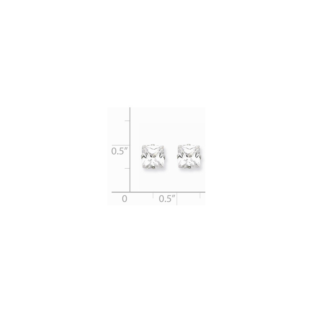 Diamond2Deal 925 Sterling Silver 6mm Square Cubic Zirconia 4 Prong Stud Earrings