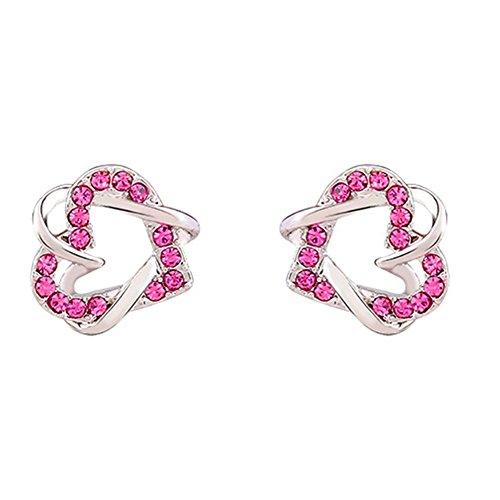 MosierBizne Lovely Heart Interlocking Earrings(2)