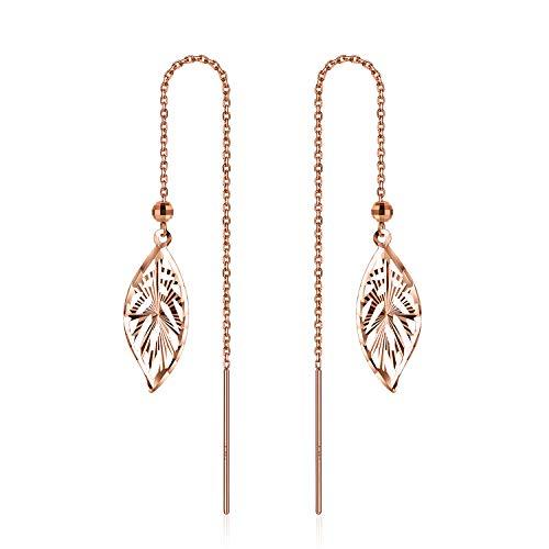 SISGEM 18k Gold Leaf Earrings for Women, Solid Rose Gold Threader Leaf Dangle Earring