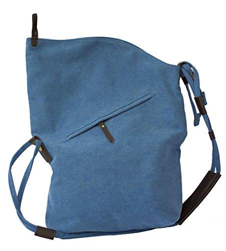 FunYoung Vintage Schultertasche Unisex Umhänge Tasche Canvas Einkaufstasche Mesenger Bag Farbwahl (Blau) Blau