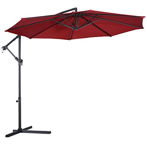 10 Ft Burgundy Hanging Umbrella Patio Garden Residential Sunshade UV Protective Cross Base