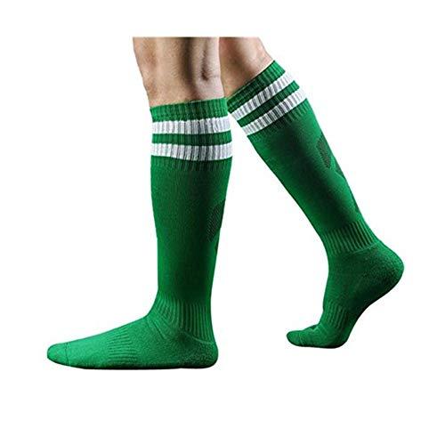 Charberry Mens Football Stockings Sport Soccer Long Striped High Baseball Sock (Green)
