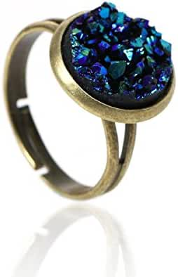 Antique Bronze Adjustable Imitation Resin Druzy Ring - AB Coated Blue