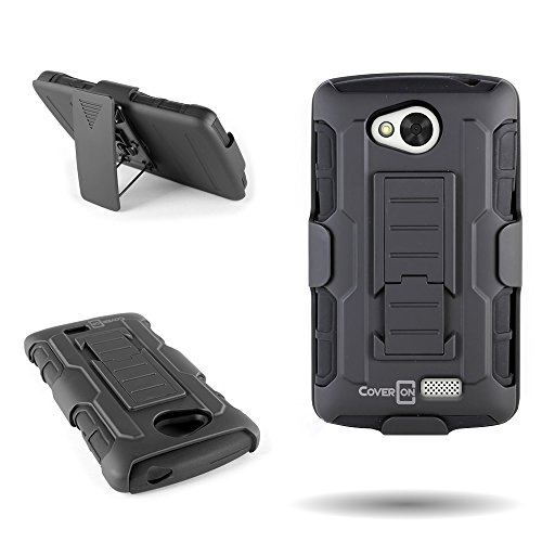 For LG Tribute / Transpyre / Optimus F60 Case, by CoverON Dual Layered Belt Clip Holster With Kickstand Combo Case (Titan Explorer) for LG Tribute Transpyre Optimus F60 - Black